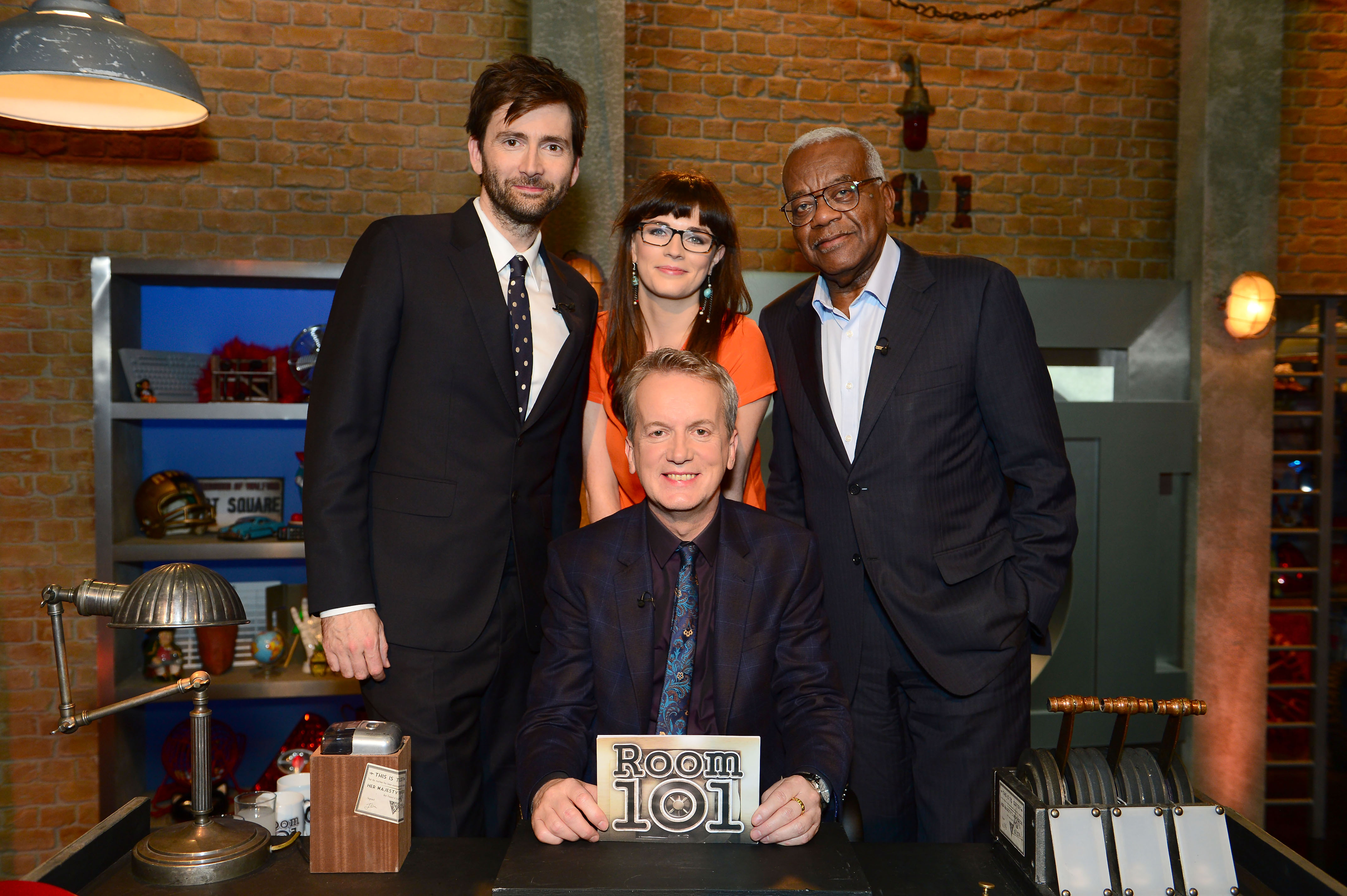 Programme Name: Room 101 - TX: n/a - Episode: n/a (No. 1) - Picture Shows: (L-R) David Tennant, Frank Skinner, Aisling Bea, Sir Trevor McDonald - (C) Hat Trick - Photographer: Ellis O'Brien